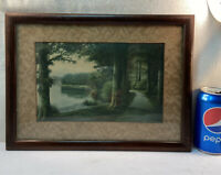 Vtg 1930-40's Lithograph Country Lake Farm Lane ROAD LESS TRAVELED Wood frame