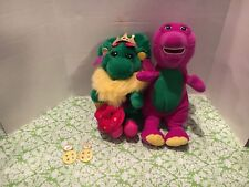 Baby Bop In Crown And Earrings And Barney The Dinosaur Stuffed Plush Set