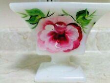 E.O.Brody milk glass pedestal hand painted dish beautiful