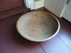"Antique Wood Wooden Butter Dough Bowl Primitive Vintage Out of Round 16"" x 17"""