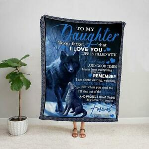 Wolf to my daughter from dad my love for you is forever family fleece blanket