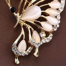 party gift gold color Opal Larg Cute Flying Butterfly brooches for women wedding