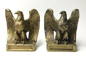 Pair of American Bald Eagle 1776 Bookends Philadelphia Mfg Solid Brass Book Ends