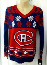 Montreal Canadiens Women Sweater Size Large Ugly Christmas Holiday Blue Red Klew