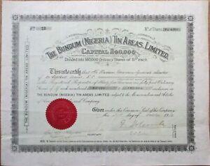 Bundum Nigeria Tin Mining 1912 Stock Certificate: 'Radium Uranium Syndicate'