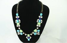 Stylish Statement  Bib Necklace  Turquoise Blue with Crystals