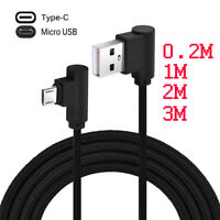Nylon 90 Degree Right Angle Micro USB Fast Charger Data Sync Charging Cable Cord