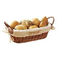 Natural Wicker Bread Serving Basket with Cream Cream Fabric Lining