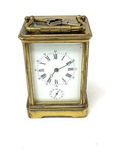 Brilliant Quality Antique Victorian Alarm Key Wind Carriage Clock Working #1252