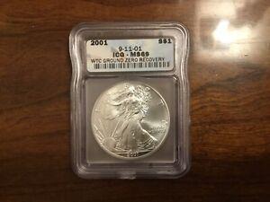 2001 WTC American Silver Eagle 1 oz ICG MS 69 Ground Zero Recovery