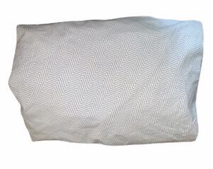 LAUREN RALPH LAUREN Full / Double FITTED Sheet Blue / White Herringbone Striped