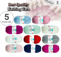 KNITTING YARN DK, Baby Acrylic Wool, Soft DK Double Knitting yarn UK (5 x 100g)