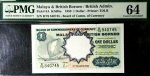 PMG 64 UNC 1959 MALAYA & BRITISH BORNEO 1 Dollars S/N-B/76 840745(+1 note)#17157
