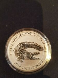 1oz  2014 Perth Mint Australian Saltwater Crocodile Silver Coin - in Capsule