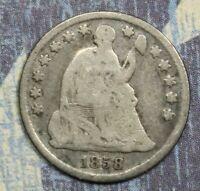 1858-O LIBERTY SEATED SILVER HALF DIME COLLECTOR COIN. FREE SHIPPING