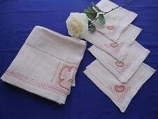 Vintage Linen Tablecloth & 4 Napkins Hemstitching & Greek Key Embroidery
