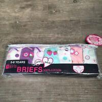 7 x Pairs Girls Cupcakes Flowers Knickers Briefs Underwear 100% Cotton Age 2 - 8