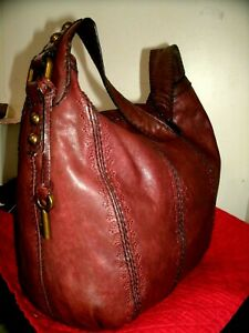 Fossil Talita Lovely Large Brown with Floral Leather Accents Hobo Bag in EUC!