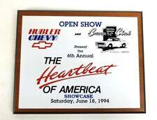 Hubler Chevy Camaro Club 1994 Vintage Auto Trophy Plaque Shop Garage Man Cave