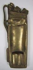Old Brass Figural Golf Bag Club Tray Ashtray ornate high relief card tip trinket