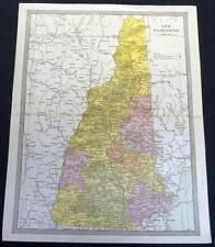 New Hampshire State Map 1912 Vintage Scientific American Atlas Page
