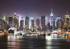 NEW YORK NIGHT SKYLINE MANHATTAN Photo Wallpaper Wall Mural SKYSCRAPERS  335x236