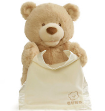 ~❤️~GUND Peek A Boo Teddy BEAR with blanket Talking Soft Toy Brown 🔥BEST SELLER