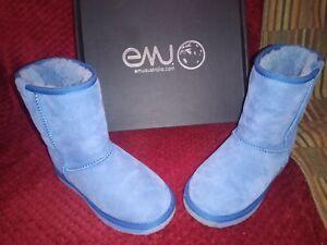 Emu Australia Mid Calf Boots W6 UK 4 Cobalt Blue Sheepskin Stinger Lo with box