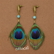 Women Vintage Peacock Feather Studs Earrings Charm Long Drop Jewelry Party Gift