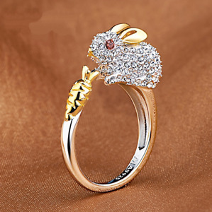925 Silver White Topaz Bunny Jewelry Animal For Women Rabbit  Adjustable Rings