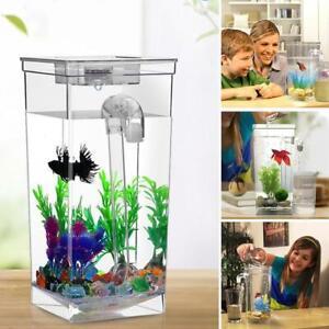 Kids Fish Tank Self Cleaning Small Desktop Fish Aquarium Light Clean LED