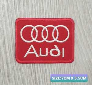 Audi RED Car Motor logo Badge Embroidered Iron On/Sew On Patch