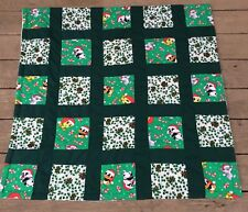 Vtg Handmade Xmas Quilt Lap Blanket Throw Crib Baby Looney Tunes Patchwork 3'