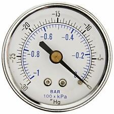 "Dry Pressure Vacuum Gauge -30-0 Hg 1/4 NPT Back Mount For Air Water Oil 2"" Dial"