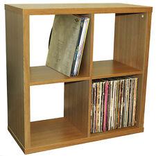 CUBE - 4 Cubby Square Display Shelves / Vinyl LP Storage - Oak 4134OC