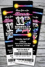 GLOW Birthday Party Invitation TICKET Stub NEON Bracelet Necklace in the Dark