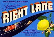 Oxnard Santa Clara Right Lane Cars Lemon Citrus Fruit Crate Label Art Print