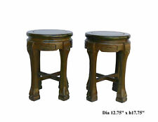 Nice Pair Solid Sandal wood Chinese Round Stools Chairs s1908v