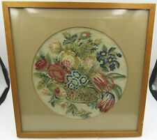 Small Framed Anique Needlework Tapestry Picture of Flowers