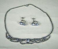 Necklace Earrings Demi Parure Women Rhinestones Blue Choker Screw Silvertone