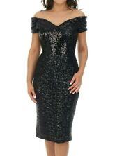 BNWT THE PRETTY DRESS COMPANY Black Fatale Sequin Bardot Fitted Dress UK12 £195