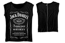 Jack Daniel's Black Top with Zipper On Back T-Shirt Femme Ladies Taille Size L