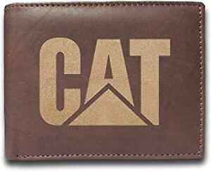 CAT Caterpillar Cowhide Leather Laser Engraved Engraving Wallet Purse