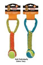 "Tough Dog Toy Durable Nylon Tennis Ball Tug Handle Throw Fetcher 12"" Colors Vary"