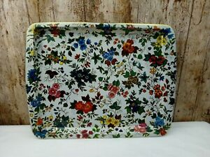 Vintage Large Tin Lap 44cm x 34cm Tray Floral Flowers Daher Decorated Ware