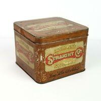 Antique Richman's Straight Cut Segars Tobacco Humidor Litho Tin Hinged Box