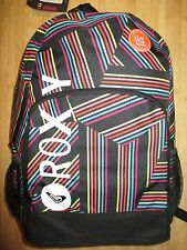 NEW ROXY BACKPACK BOOK SCHOOL STUDENT Laptop Tablet Pouch Black Rainbow Stripe