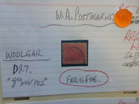 WEST AUSTRALIA POSTMARK ON SWAN STAMP WOOLGAR D27 1912