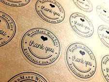 80 *Thank you Handmade with Love* Sticker Aufkleber Dankeschön Handgemacht Danke