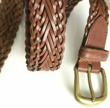 Fossil Brown Leather Belt Mens M Solid Brass Buckle Braided